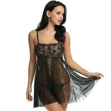 Women Sexy Lingerie Dress Babydoll Strap Sheer Hollow Lace Patchwork OK