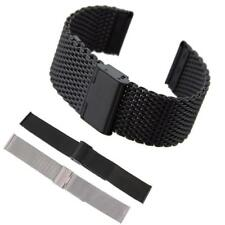 18mm 20mm 22mm Mesh Stainless Steel Bracelet Watch Strap Band Double Clasp