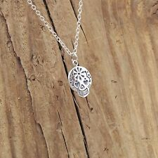 Sterling Silver Sugar Skull Charm Pendant Necklace Gothic Day Of The Dead