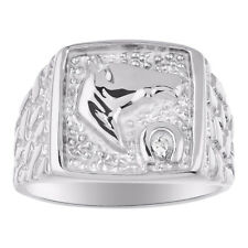 Diamond Horse Ring Sterling Silver or Gold Plated Silver Good Luck Ring