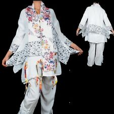 LAYER LOOK LINEN SUMMER TIP JACKET TUNIC BLOUSE 40 42 44 46 48 50 WHITE S M L X