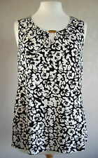 NEW - GEORGE - size 10 12 14 - Black/White floral print ladies TOP/ TUNIC BNWoT
