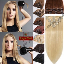 Clip in Remy Human Hair Extensions Full Head Real Long Highlight Any Colour A755