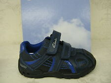 Boys SALE Clarks Brite Time Fst Navy Leather Casual Riptape Shoes