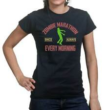 Zombie Marathon Walking Dead Funny Ladies T shirt Tee Top T-shirt