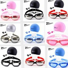 Adult earplug Anti-fog Pool Goggles with Cap Adjustable Swim Glasses set 3-piece