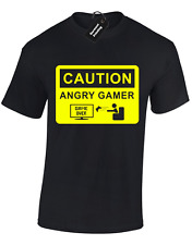 CAUTION ANGRY GAMER KIDS CHILDRENS T SHIRT FUNNY GAMING GIFT XBOX PS4 TOP