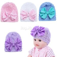 Toddler Kids Girl Baby Infant Big Bow Soft Elastic Crochet Knit Hat Beanie Cap