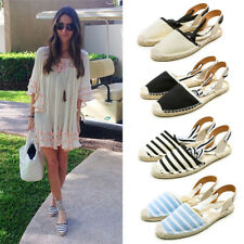 Womens Ladies Espadrilles Ankle Strappy Flat Summer Comfy Sandals Studded Shoes