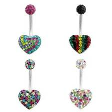 Heart Belly Ring Pink Clear Rasta Swirl Red CZ Gem Dangle Navel CZ Body Jewelry