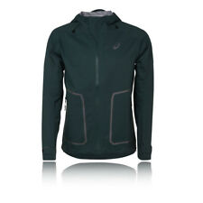 Asics MMS Mens Green Hooded Waterproof Windproof Running Sports Jacket Top