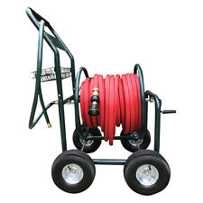 "Garden Steel Hose Cart Trolley 50M Red Fire Hose 19MM - 3/4"" Brass Fittings"