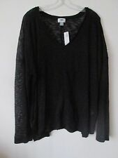 Old Navy Long-sleeve Semi Sheer Blouse with Deep V Neck NWT