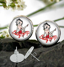 Betty Boop Earrings  - Betty Boop 12 mm dia Earrings Silver plated