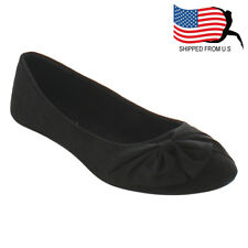 Chic Contemporary Women's Bow Slip On Ballet Flats Black