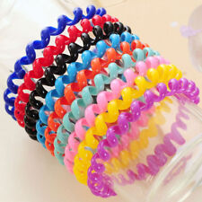 10Pcs Women Girl Elastic Rubber Hairband Telephone Line Hair Rope Bands Headwear