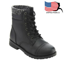 Chic Contemporary Girl Toddlers Lace Up Knitted Cap Toe Ankle Booties Black