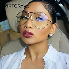 2017 New Women's Oversized Round Clear Lens Sunglasses Gold Metal Frame Aviator