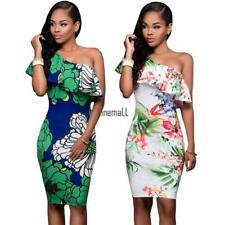 Women Casual Ruffles One Shoulder Sleeveless Floral Printed Bodycon Dress LM