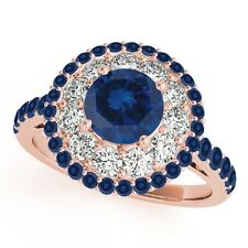 1.90 Carat Halo Sapphire-Diamond Engagement Ring In 10K Solid Gold