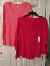 OLD NAVY Womans Relaxed Long Sleeve V Neck Tops Size XXL Red Coral U Choose  NWT