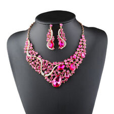 Women Alloy Metal Statement Necklace and Earring Luxury Crystal Jewelry Set