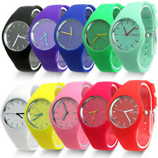 Colorful Geneva Hot Jelly Silicone Band Quartz Analog Sport Kid Wristwatch Watch