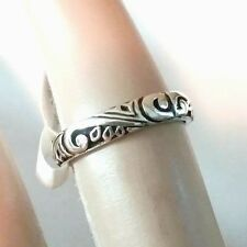 .925 Sterling Silver Elegant Bali Style Filigree Scroll Design Band Size 6-9