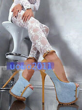 Sexy Super High Heel Open Toe Denim Sandals Platform Rivet High Heel Shoes Plus