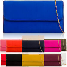 Long Baguette Women Clutch Suede Faux Leather Ladies Girl Evening Party Prom Bag