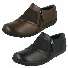 LADIES CLARKS LEATHER ZIP ELASTIC GUSSET FLAT CASUAL TROUSERS SHOES MEDORA GALE