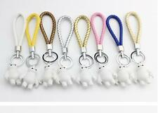 Woven leather + Big white Metal Waist Hanging Keychain Keyring Key Ring Chain Me