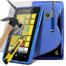 Luxury S-Line Wave Gel Skin Case Cover, Pen & Glass For Nokia Lumia 520