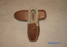 NEW Polo Ralph Lauren Tan Suede Leather Shearling Slippers 10