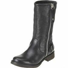 Harley Davidson 'Baisley' Ladies Black Leather Outside Zip Fastened Biker Boots