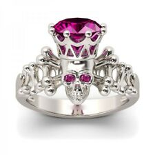 Fashion Rose Red Sapphire Skull Crown 925 Silver Wedding Engagement Ring Sz 6-10