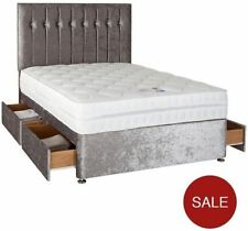 4FT6 DOUBLE SILVER CRUSHED VELVET DIVAN BED BASE WITH UNDER BED STORAGE