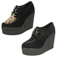 Ladies Spot On Casual Lace Up High Platform Wedge Shoes