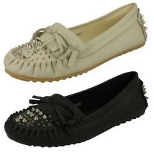 Ladies Spot On Flat Moccasin Studded Vamp
