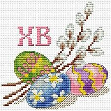 EASTER CARD Eggs Pussy-willow Counted Cross Stitch Chart Needlework Pattern PDF