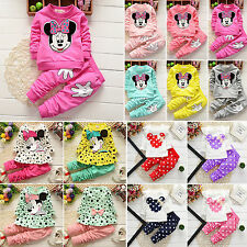 2PCS Kids Minnie Mouse Baby Girls Long Sleeve Cotton T-Shirts+Pants Suit Outfits