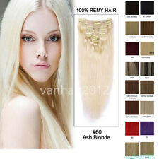 """20"""" 7PCS Clip in Remy 100% Human Hair Extensions Straight 24Colors Fashion Hair"""