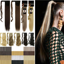 US Clip in Ponytail Hair Wrap Around Style Extensions Straight Wavy Blonde T34