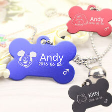 Bone Shape DOG CUSTOM PERSONALIZED PET ID TAG Unique Pet Cat Puppy Charm Tags