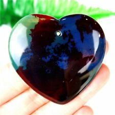 Charming Colorful Printing Agate Peach Heart Pendant Bead 46*44*8mm DF74715