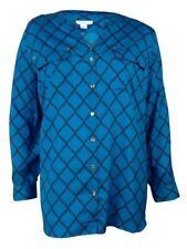 Charter Club Women's Crepe Roll-Tab Button-Up Blouse