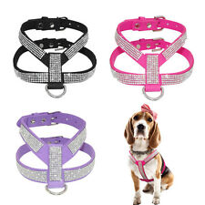 XXS/XS Small Teacup Chihuahua Dog Harness Soft Vest Leather W/ Bling Rhinestone