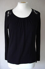 New M&S - size 8 & 12 - lovely BLACK lace detail long sleeves TOP/ tunic - BNWoT