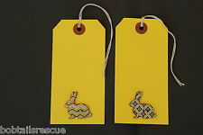 Rabbit Bunny Yellow Card Gift Tags/Labels  - 100% Charity -