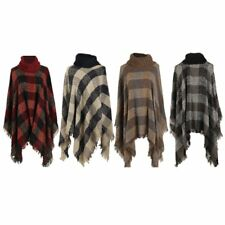 Women Poncho Batwing Knitwear Top Cardigan Turtle Neck Sweater Cape Coat Outwear